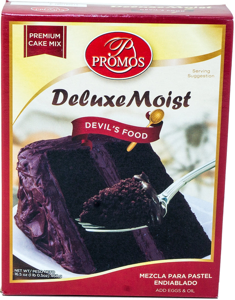 Promos Deluxe Moist Cake Mix, Devil's Food, 18.25 oz