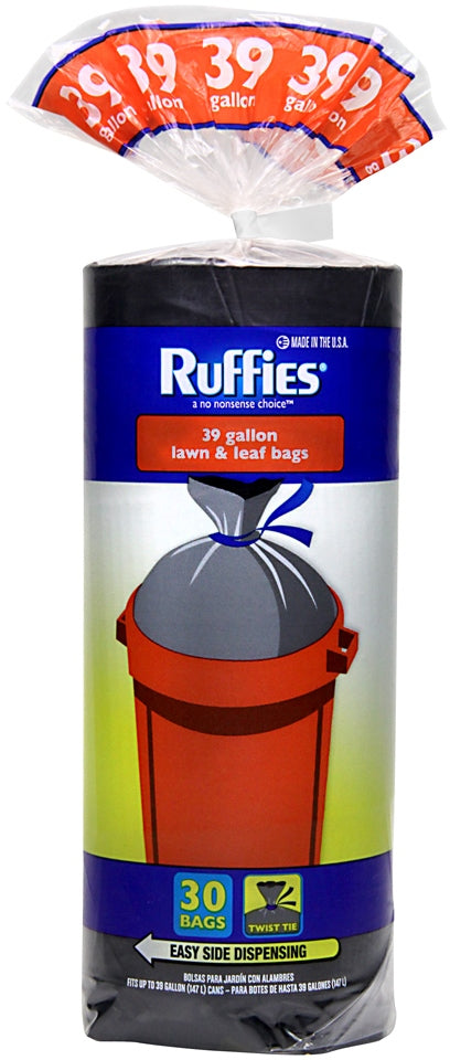 Ruffies Drawstring Black Lawn and Leaf Bags, 39 Gallons, 30 ct