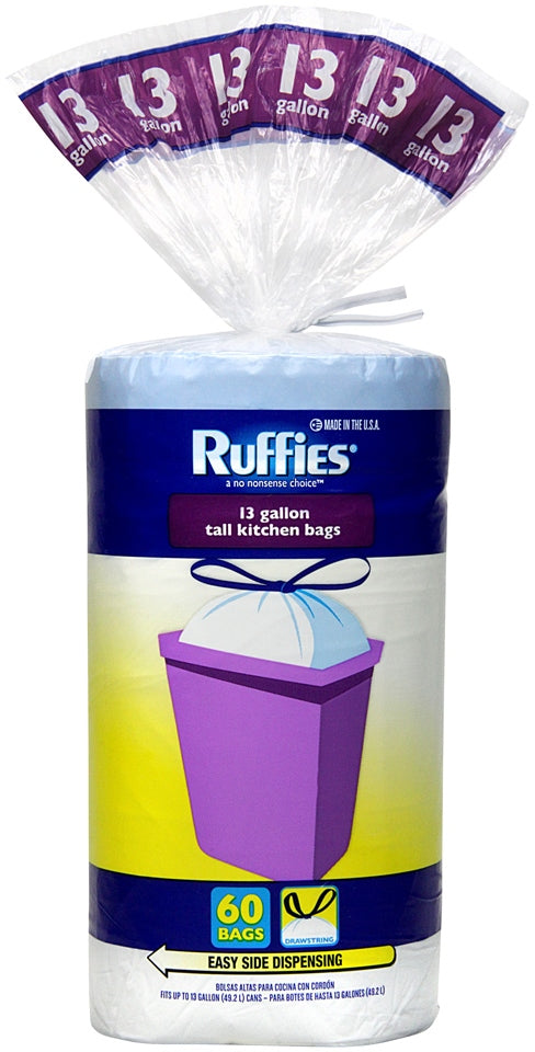 Ruffies Drawstring Kitchen Bags, 13 Gallons, 60 ct