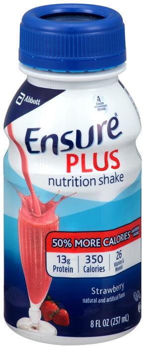 Abbott Ensure Plus Nutrition Shake, Strawberry, 6 ct