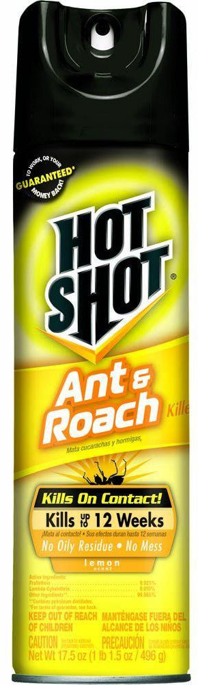 Hot Shot Ant & Roach Plus Germ Killer, Lemon Scent, 17.5 oz