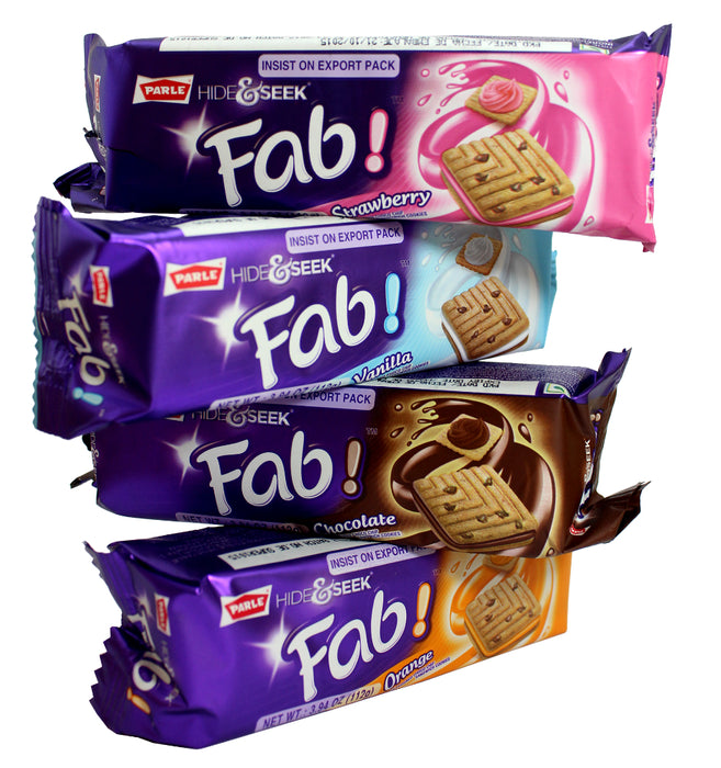 Parle Hide & Seek Fab! Strawberry Flavoured Choco Chip Sandwich Cookies, 3.94 oz