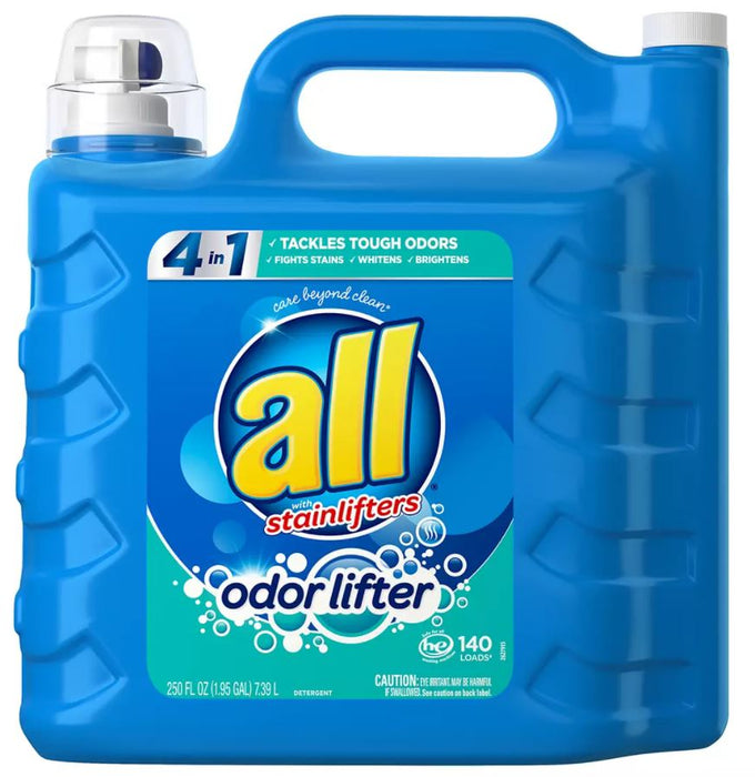 All With Stainlifters Odor Lifter Liquid Laundry Detergent , 250 oz