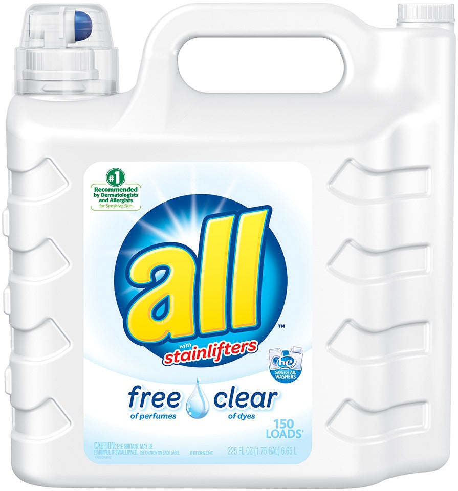All with Stainlifter Laundry Detergent, Free & Clear of Dyes, 225 oz