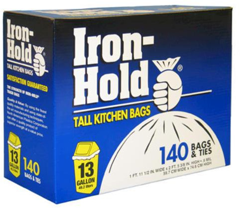 Iron Hold Tall Kitchen Bags, 13 Gallons, 140 ct