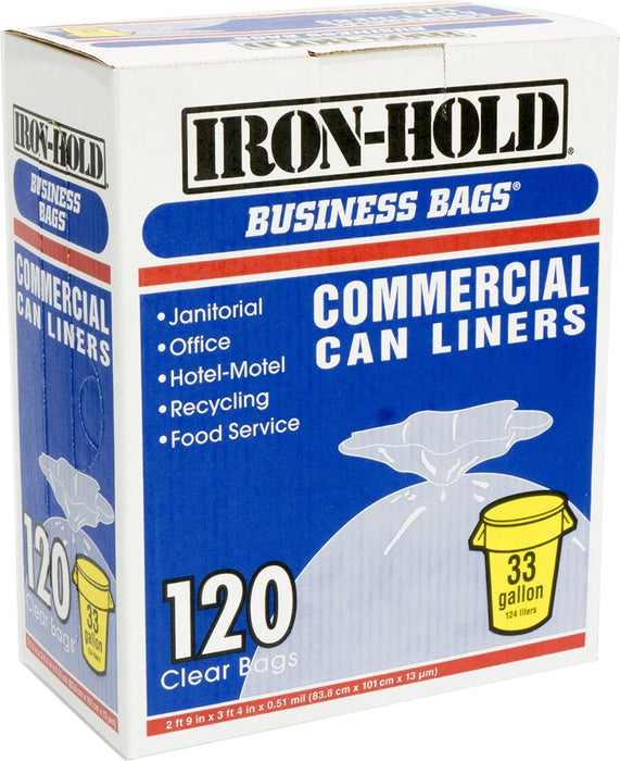Iron Hold Commercial Can Liners Business Bags, 33 Gallons, 120 ct