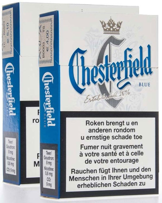 Chesterfield Blue Cigarettes, Slof, 10-pack