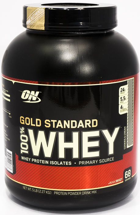 On Gold Standard Whey Protein Isolates, Cookies and Cream, 5 lbs