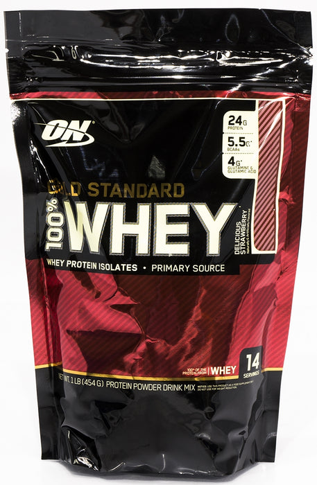 On Gold Standard Whey Protein Isolates, Delicious Strawberry, 1 lbs