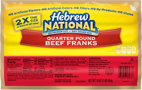 Hebrew National Dinner Franks, 1 lbs