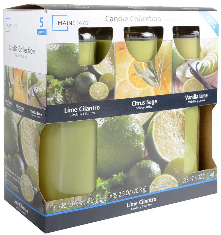 Mainstays Jar Candle Set, Lime Cilantro Fragrance, 5 ct