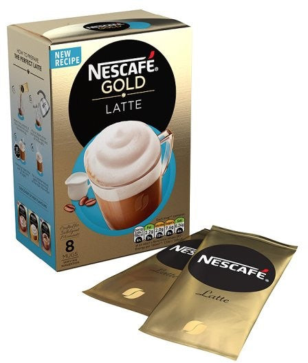 Nestle Nescafe Gold Sachets, Latte, 8 ct