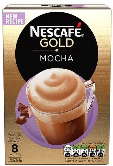 Nestle Nescafe Gold Sachets, Mocha, 8 ct
