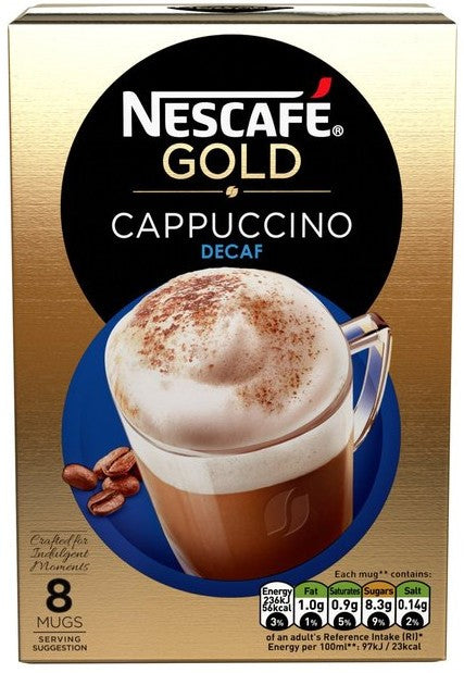 Nescafe Gold Cappuccino Sachets, Decaf, 8 ct