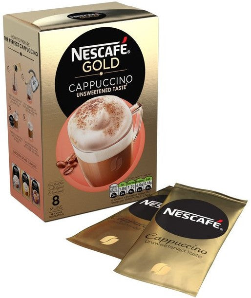 Nescafe Gold Cappuccino Sachets, Unsweetened Taste, 8 ct