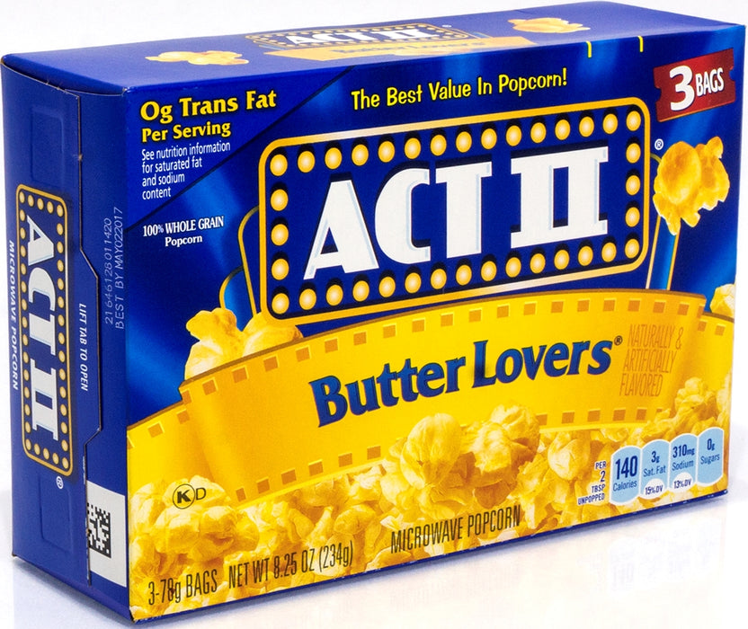 Act II Butter Lovers Popcorn, 3 ct