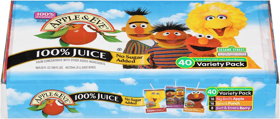 Apple & Eve Sesame Street 100% Juice, No Sugar Added, Variety Pack, 40 x 4.23 oz