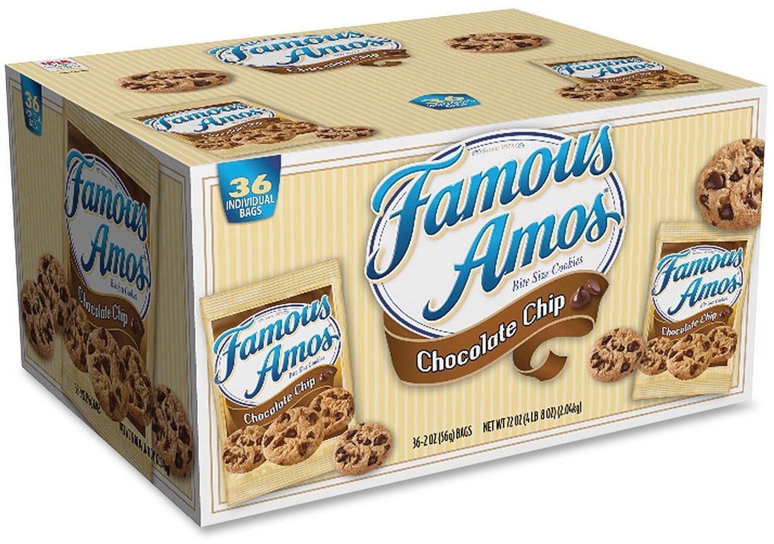Famous Amos Chocolate Chip Cookies Value Pack, 36 x 2 oz