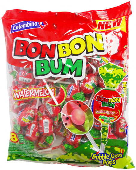 Colombina Bon Bon Bum Bubble Gum Pops, Watermelon, 48 ct