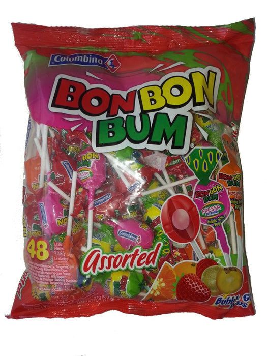 Colombina Bon Bon Bum Bubble Gum Pops, Assorted, 48 ct
