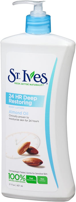 St. Ives 24 Hr Deep Restoring Body Lotion, Almond Oil, 21 oz