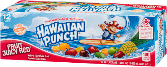 Hawaiian Punch, Fruit Juicy Red, with Vitamin C, 12 x 12 oz