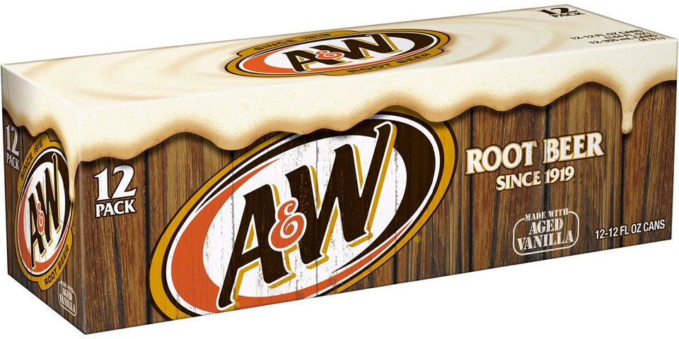 A&W Root Beer Cans, Made with Aged Vanilla, Value Pack, 12 x 12 oz