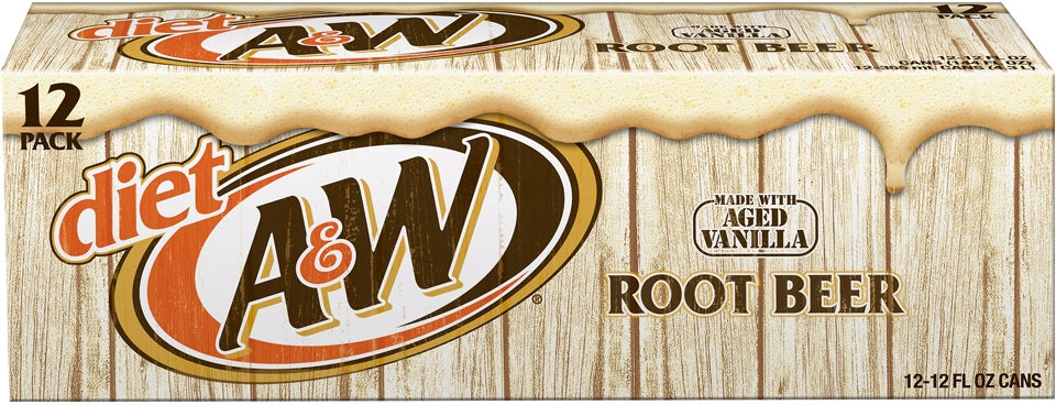 A&W Diet Root Beer Cans, Made with Aged Vanilla, Value Pack, 12 x 12 oz