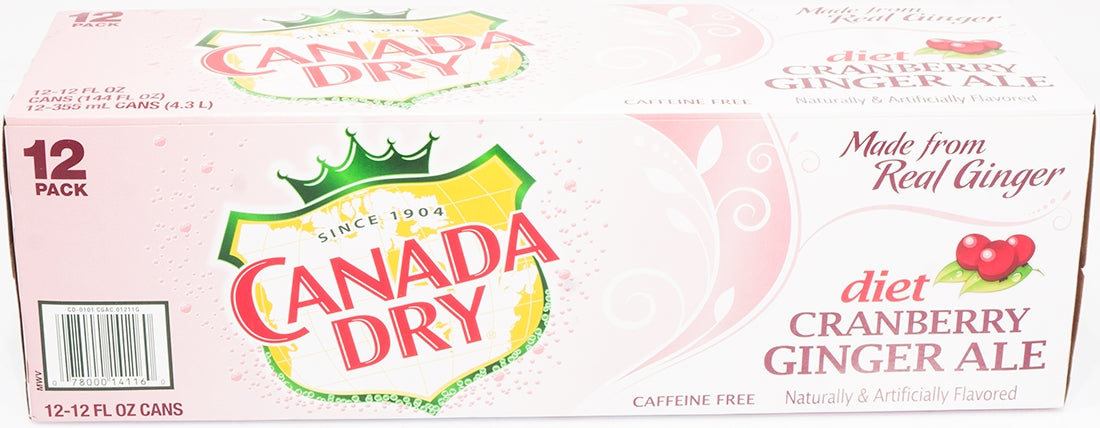 Diet Canada Dry Cranberry Ginger Ale, 12 x 12 oz