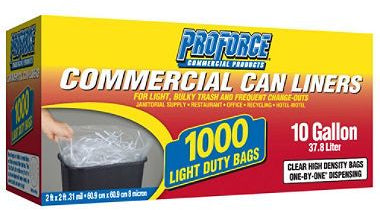 Proforce Commercial Can Liners, 10 Gallon, 1000 ct
