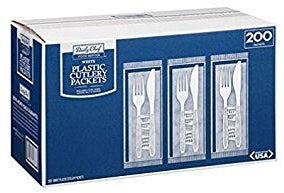 Daily Chef White Plastic Cutlery Packets, 200 ct