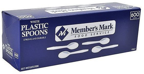 Member's Mark White Plastic Disposable Spoons , 600 ct