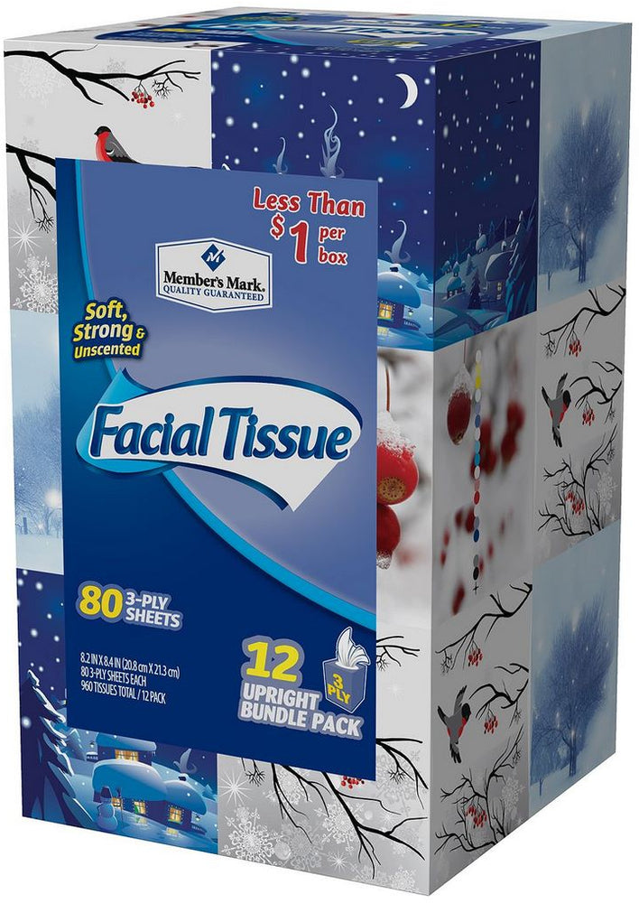 Member's Mark Facial Tissue Value Pack, 80 3-ply sheets, 12 ct