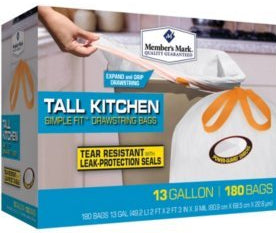 Member's Mark Tall Kitchen Drawstring Bags, 13 Gallons, 180 ct