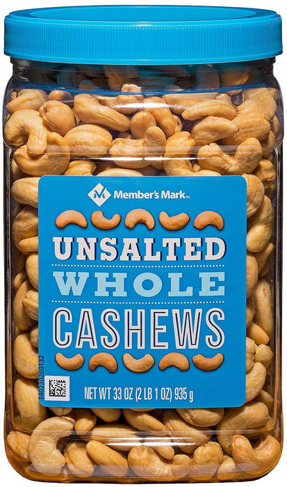 Member's Mark Unsalted Whole Cashews , 33 oz