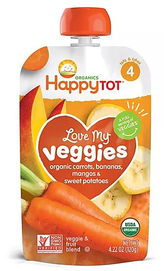 HappyTOT Organic Love My Veggies Baby Pouch, Carrots Bananas Mangos & Sweet Potatoes Flavor, 4.22 oz