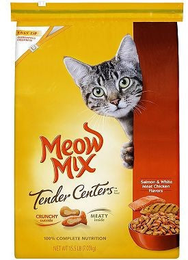 Meow Mix Tender Centers Dry Cat Food, Salmon & Chicken, 15.5 lbs