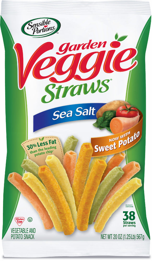 Sensible Portions Garden Veggie Straws Vegetable Snack with Sea Salt, 20 oz