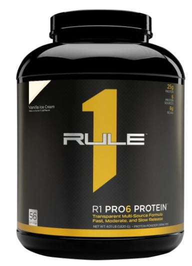 Rule 1 R1 Pro 6 Protein Powder, Vanilla Ice Cream Flavor, 56 Servings, 4.20 lbs
