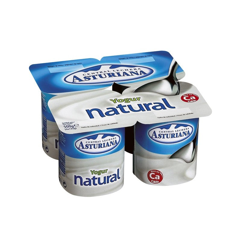 Asturiana Yogurt, Plain Natural, 4 x 125 gr