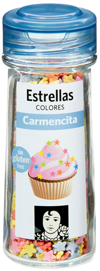 Carmencita Colorful Sugar Confetti, Stars, 50 gr