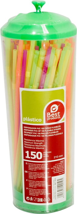 Best Products Flexible Plastic Straws Dispenser, 150 ct