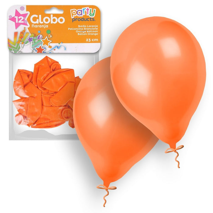 Party Products 23 cm Balloons, Orange, 12 ct