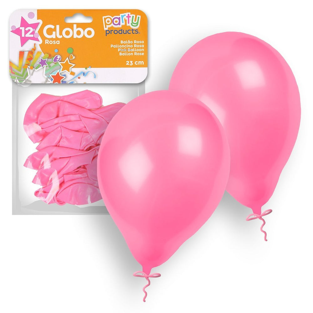 Party Products 23 cm Balloons, Pink, 12 ct