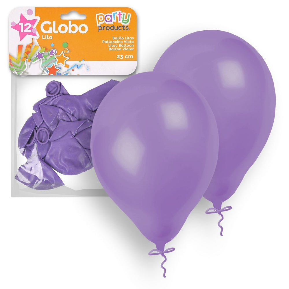 Party Products 23 cm Balloons, Lilac, 12 ct
