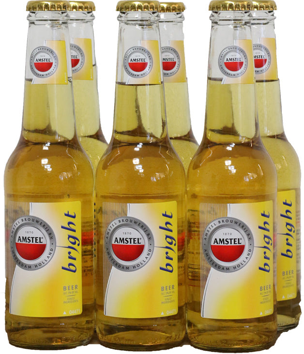 Amstel Bright Beer Bottles, 6 pack