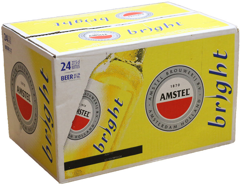 Amstel Bright Beer Bottles, 24 pack