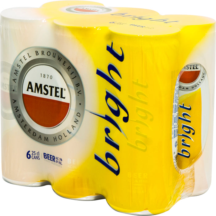Amstel Bright Beer Cans, 6 x 250 ml