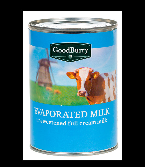 Goodburry Evaporated Milk, Unsweetened Full Cream, 410 gr