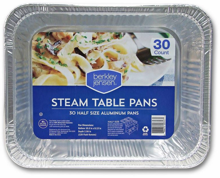Berkley & Jensen Steam Table Pans, Half Size, 30 ct